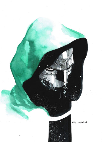 Dike Ruan Original Art Dr Doom A4 Painted Illustration