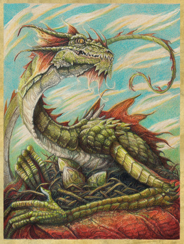 Pepe Valencia Original Art 'Green Dragon' Colour Illustration