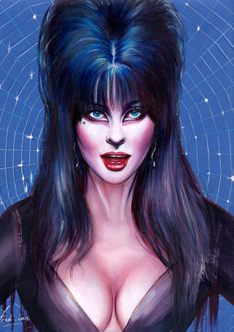 Fred Ian Original Art Elvira Oil Painted Illustration