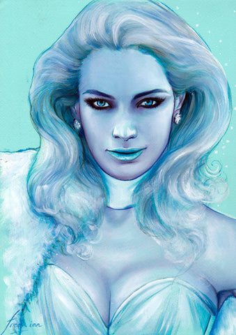 Fred Ian Original Art Emma Frost Oil Painted Illustration