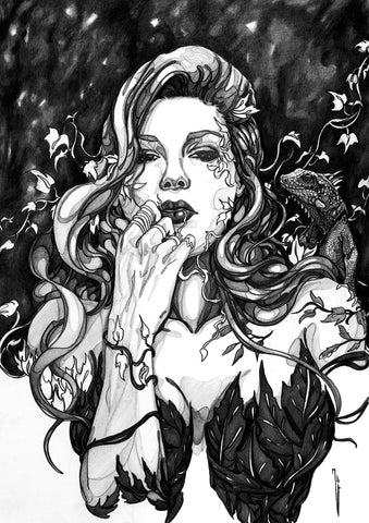 Ingrid Gala Original Art Poison Ivy Graphite Illustration