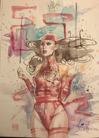 David Mack Original Art Elektra Illustration