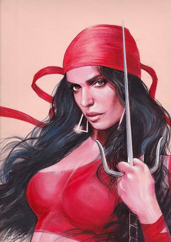 Fred Ian Original Art Elektra Detailed Oil Painted Sketch