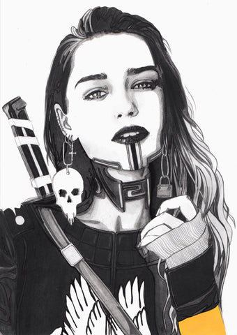 Ingrid Gala Original Art Emilia Clarke Steampunk Illustration