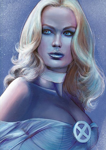 Fred Ian Original Art Emma Frost Detailed Oil Painted Sketch