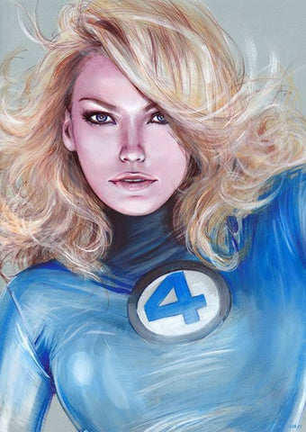 Fred Ian Original Art Susan Storm Fantastic Four Detailed Oil Painted Sketch