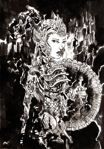 Vincenzo Riccardi Original Art Female Warrior Illustration