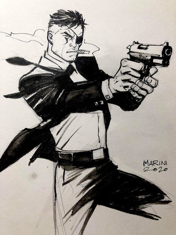 Enrico Marini Original Art Nick Fury Inked Illustration