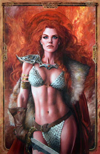 Fred Ian Original Art Killing Red Sonja #1 Cover Canvas Oil Painting