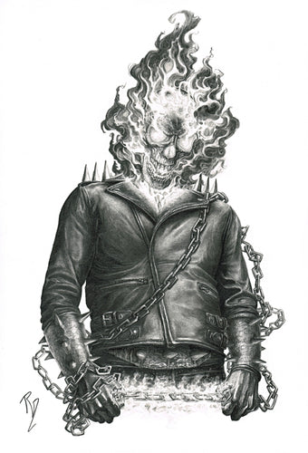 Pepe Valencia Original Art Ghost Rider Portraits Collection Illustration