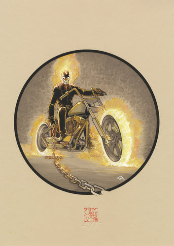 Olivier Vatine Original Art Ghost Rider Hell Cycle Cars Collection