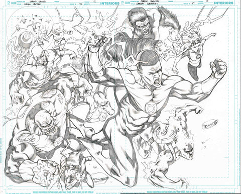 Sergio Davila Original Art Green Lantern #49 Page 12-13 Double Page Spread