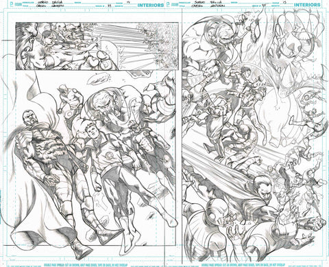 Sergio Davila Original Art Green Lantern #49 Page 14-15 Double Page Spread