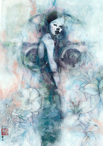 Zu Orzu Original Art 'Growth' Mixed Media Illustration