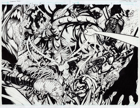 Gerardo Sandoval Original Art Guardians 3000 #2 Page 8-9 Double Page Spread