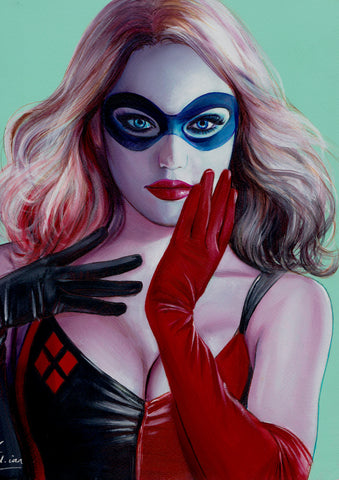 Fred Ian Original Art Harley Quinn Oil Painted Illustration