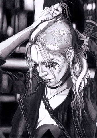 Ingrid Gala Original Art Harley Quinn Graphite Illustration