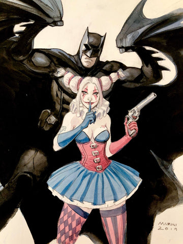 Enrico Marini Original Art Batman & Harley Quinn Illustration