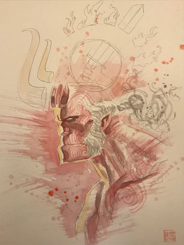 David Mack Original Art Hellboy First Painted Concept Cover