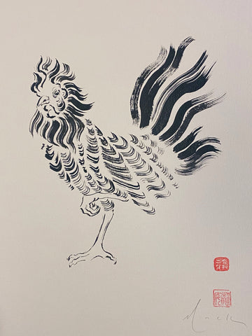 David Mack Original Art Rooster Brush & Ink