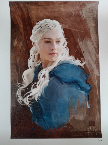 "Zu Orzu Deluxe Daenerys Game of Thrones Glossed 12x18"" Canvas Limited to 3"