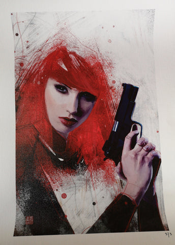 "Zu Orzu Deluxe Black Widow Glossed 12x18"" Canvas Limited to 3"
