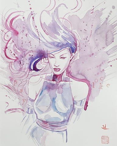 David Mack Original Art Psylocke Illustration