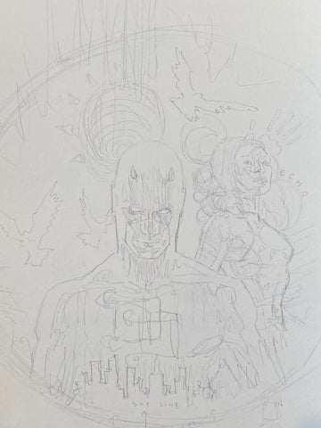 David Mack Original Art Daredevil & Echo Overstreet Cover Pencil Prelim