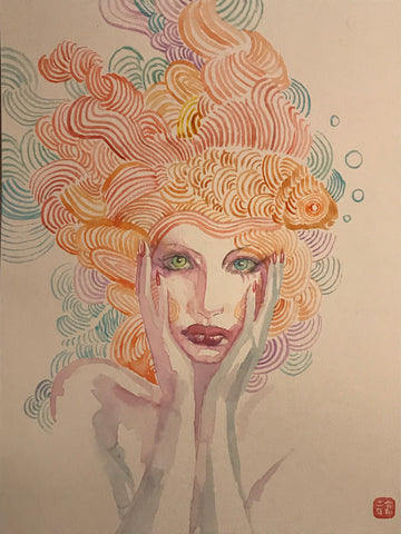 David Mack Original Art Neil Gaiman's Neverwear Delirium Painted Study