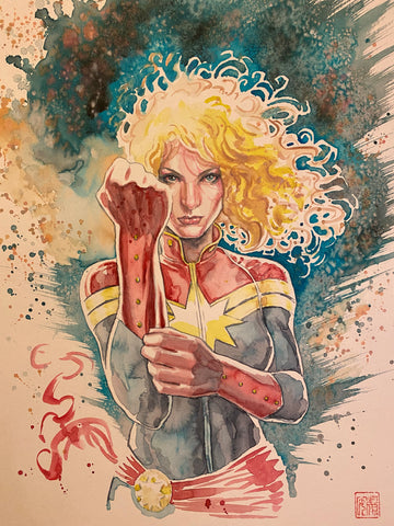 David Mack Original Art Captain Marvel Published Illustration