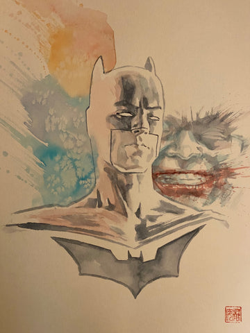 David Mack Original Art Batman & Joker Illustration