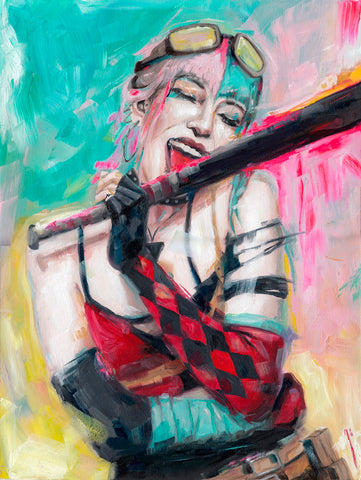 Ingrid Gala Original Art Future State Harley Quinn Illustration