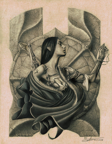 Pepe Valencia Original Art 'Izela' Graphite Illustration