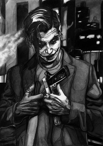 Ingrid Gala Original Art Joker Graphite Illustration