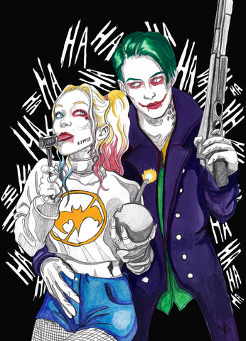 Ingrid Gala Original Art Harley Quinn & Joker Illustration