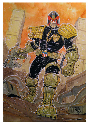 Jordi Tarragona Original Art Judge Dredd Painted Illustration