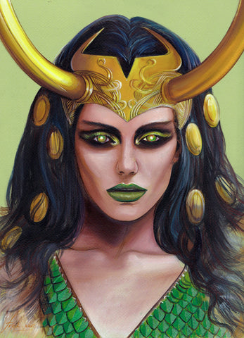 Fred Ian Original Art Lady Loki Oil Painted Illustration