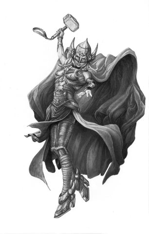 Pepe Valencia Original Art Lady Thor Graphite Illustration