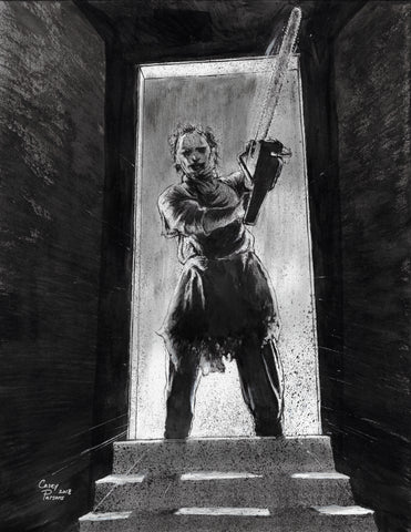 Casey Parsons Original Art Inktober Horror Leatherface