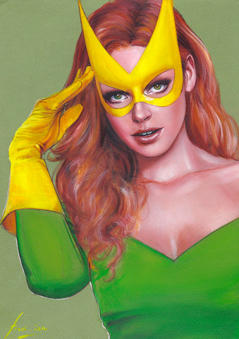 Fred Ian Original Art Marvel Girl Oil Painted Illustration