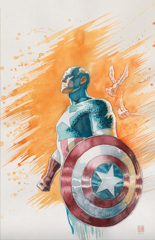 David Mack Original Art Black Panther #13 25th Anniversary Captain America Tribute Cover