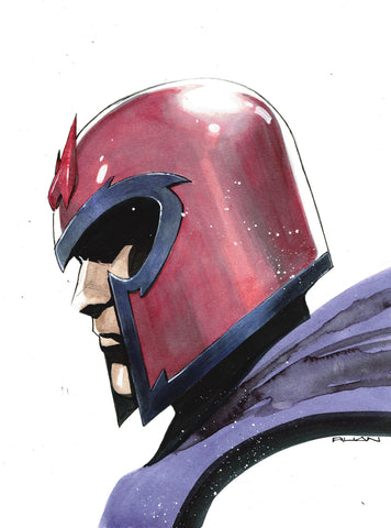 Dike Ruan Original Art Magneto 2 A4 Painted Illustration