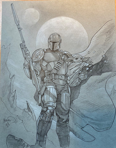 Paul Renaud Original Art Mandalorian & Baby Yoda Study Illustration