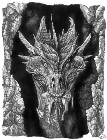 Pepe Valencia Original Art 'Master Dragon' Graphite Illustration