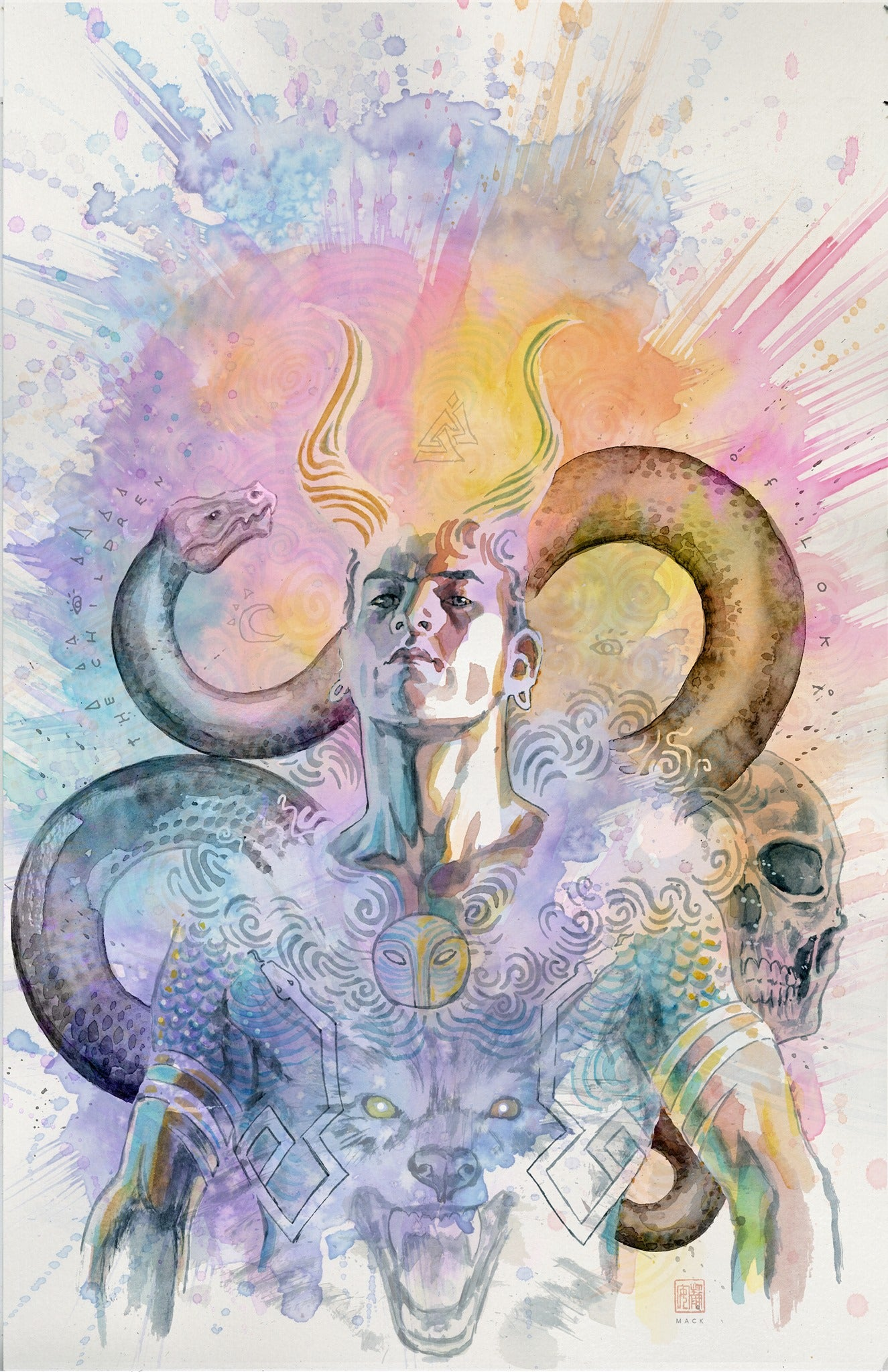 David Mack Original Art Loki Norse Mythology #4 Cover