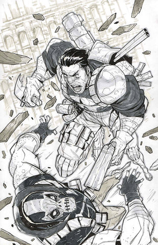 Jon Lam Original Art Punisher vs Crossbones Illustration