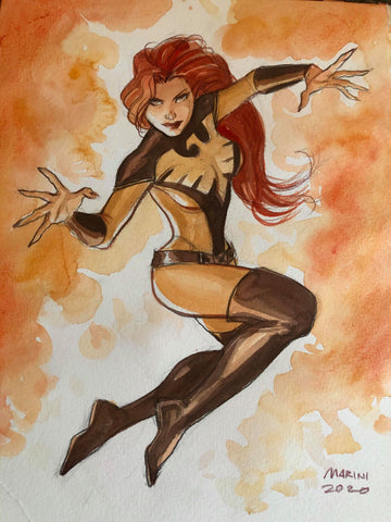 Enrico Marini Original Art Jean Grey Phoenix Elaborate Illustration