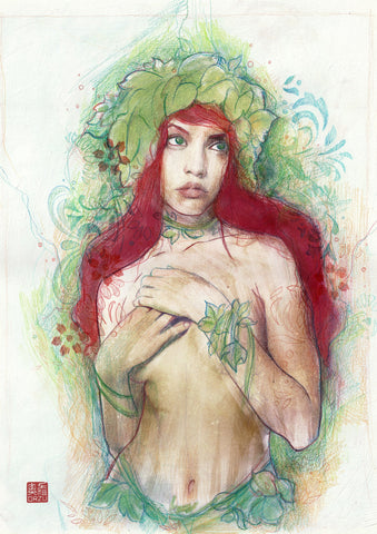Zu Orzu Original Art Poison Ivy Illustration