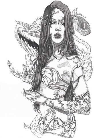 Ingrid Gala Original Art Poison Ivy Pencil Illustration