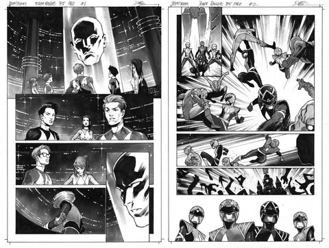 Dike Ruan Original Art Power Rangers Test Page 1 & 2 Set